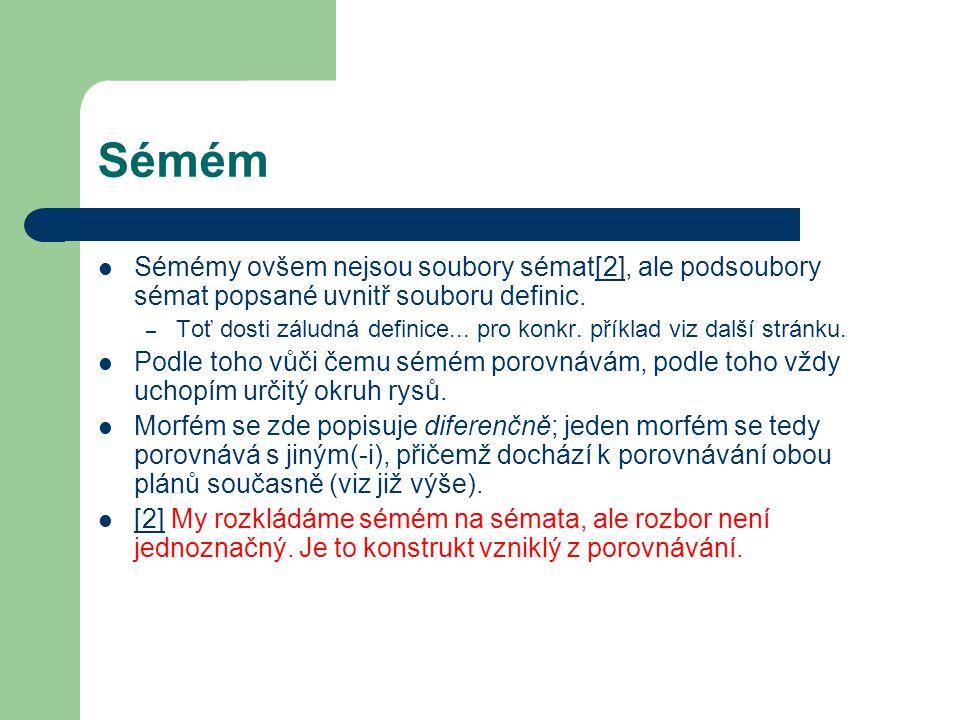 Sémém Sémémy ovšem nejsou soubory sémat[2], ale podsoubory sémat popsané uvnitř souboru definic.